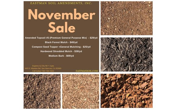 November Specials By Eastman Soil Amendments In San Marcos Ca