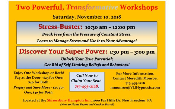 Stress Buster And Discover Your Super Power Workshops By