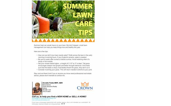 Lawn Care By Crown Executive Realty In Crown Point In