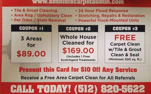 Carpet Cleaning Specials By Absolute Carpet And Tile In