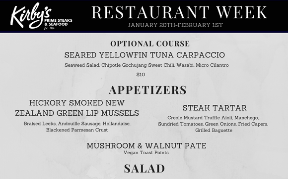 Culinaria Restaurant Weeks By Kirby S Steakhouse In San