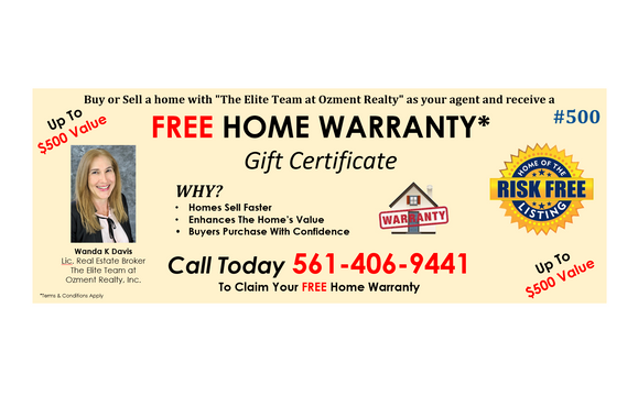 Free Home Warranty By The Elite Team Pbc At Ozment Realty Inc In West Palm Beach Fl Alignable