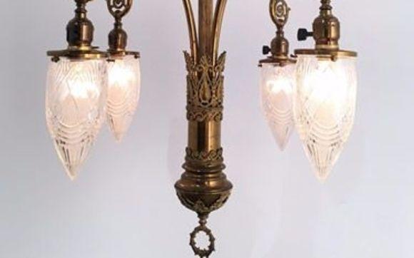 Circa 1900 4 Light Art Nouveau Chandelier With Stalace