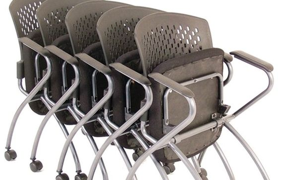 Nesting Chair W Arms Amp Casters Titanium Gray Frame By