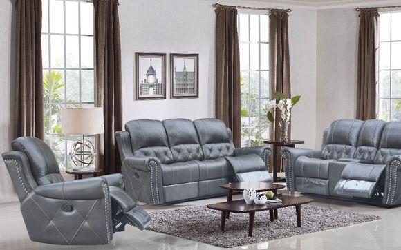 Hunter Reclining 3-PC Sofa Set – Leather Air Code # G12 Grey ...