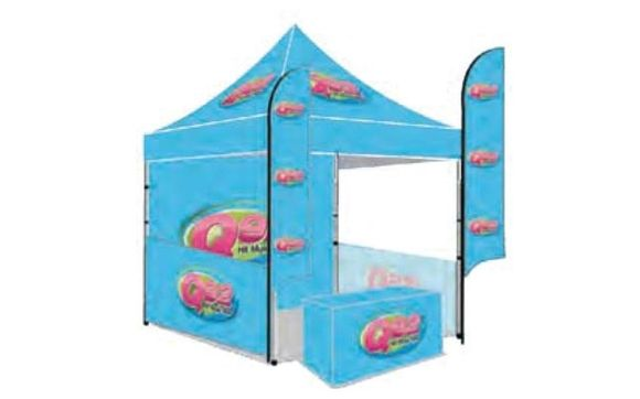 This 10x10 Tent 6ft Table Cover, 2 Flags, Back Wall, 2 Side