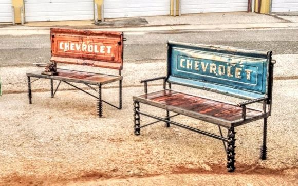 Fantastic Tailgate Benches By Metal Art At Recycled Salvage Design In Dailytribune Chair Design For Home Dailytribuneorg