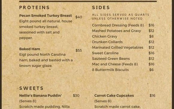 Easter Dinner Takeout Menu By Nellie S Southern Kitchen In Belmont Nc Alignable